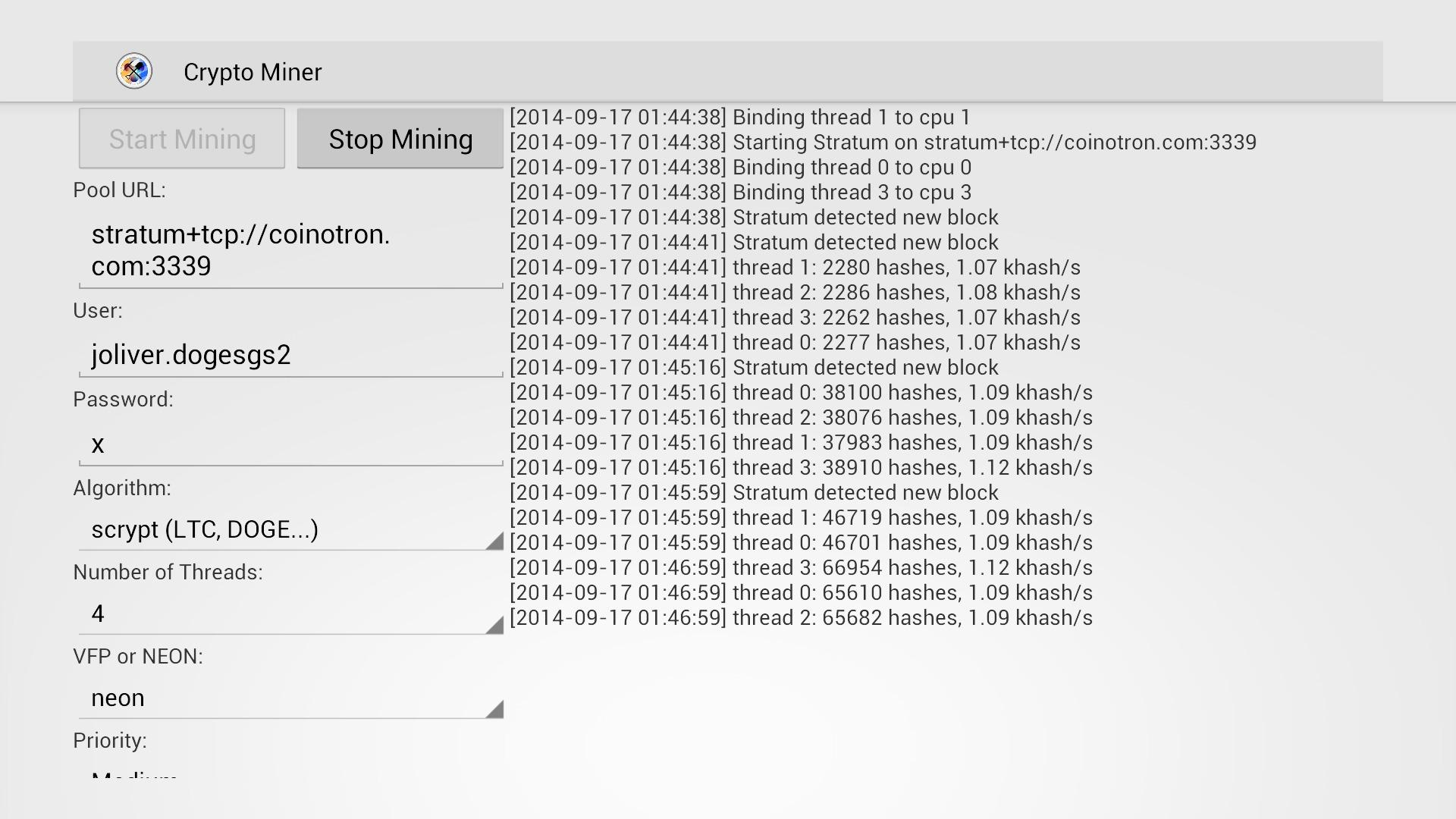 Screenshot of Crypto Miner