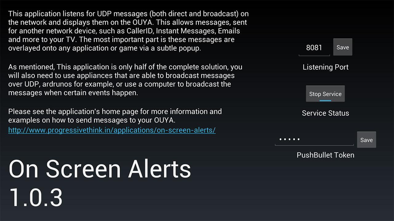 Screenshot of On Screen Alerts