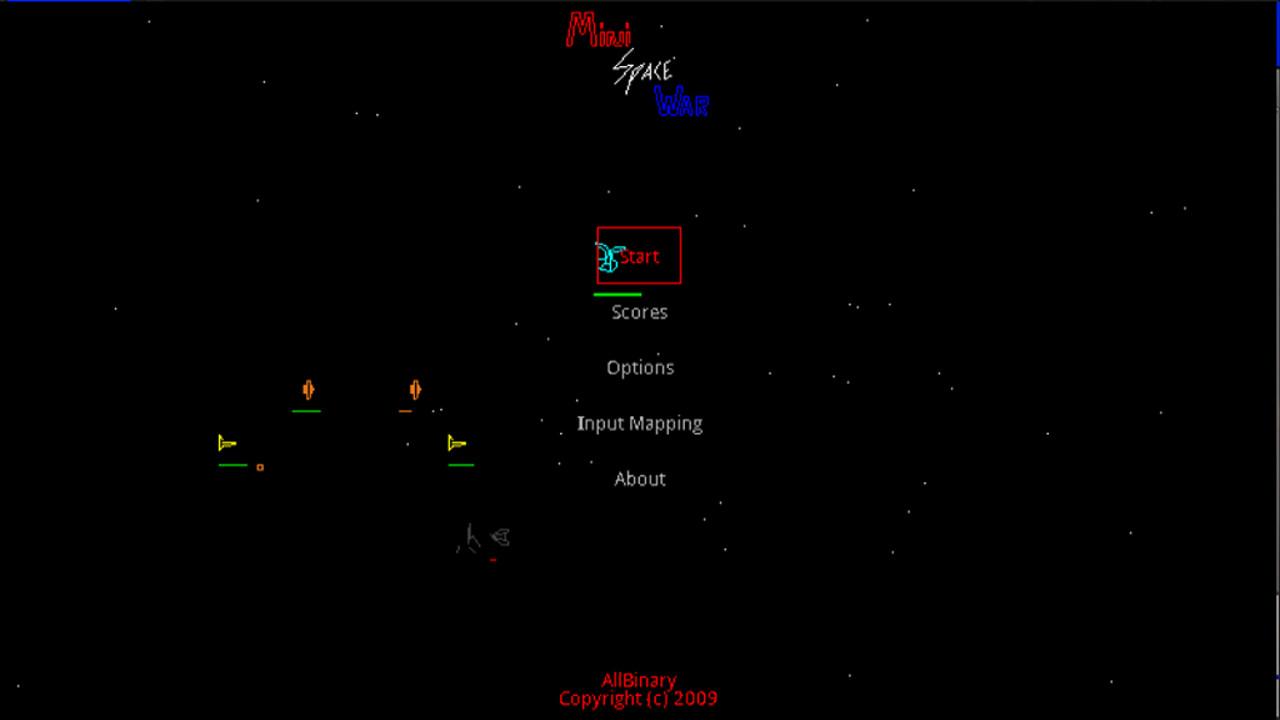 Screenshot of MiniSpaceWar w/Vectors
