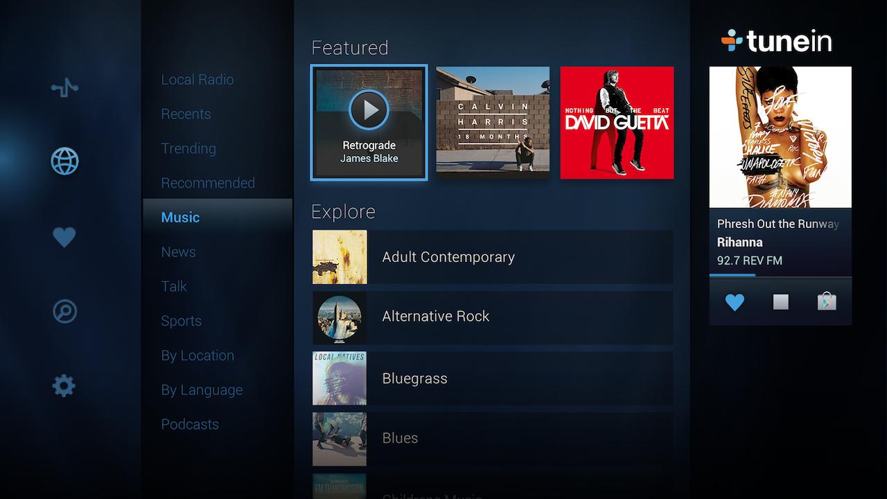 Screenshot of TuneIn Radio